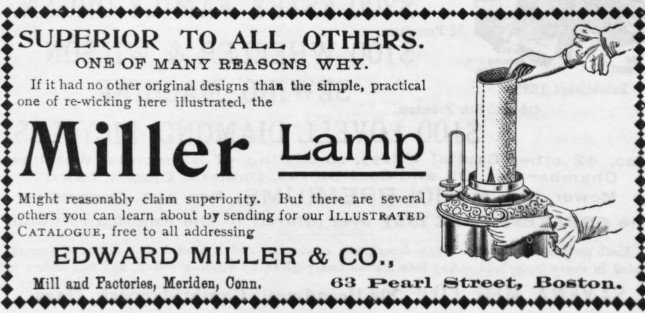 E. Miller Lamps Kerosene Lamp Edward Miller Oil